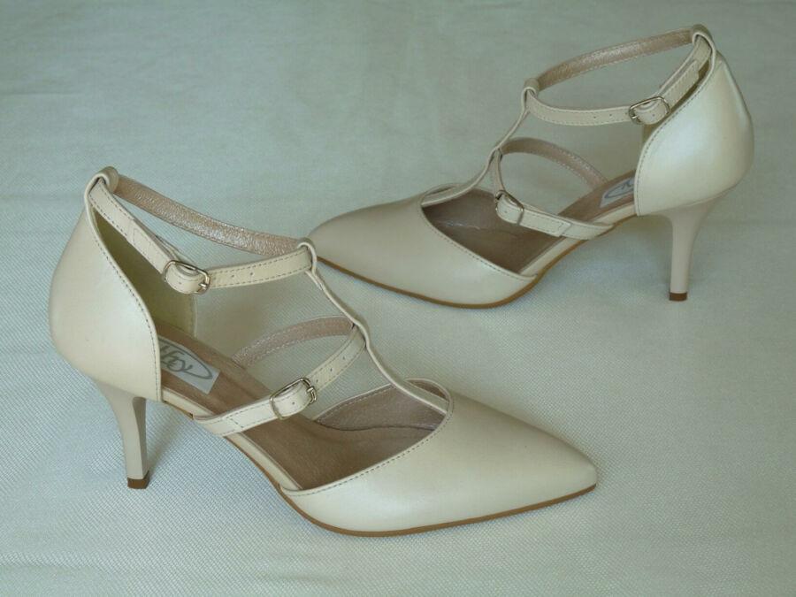 F pántos női esküvői cipő