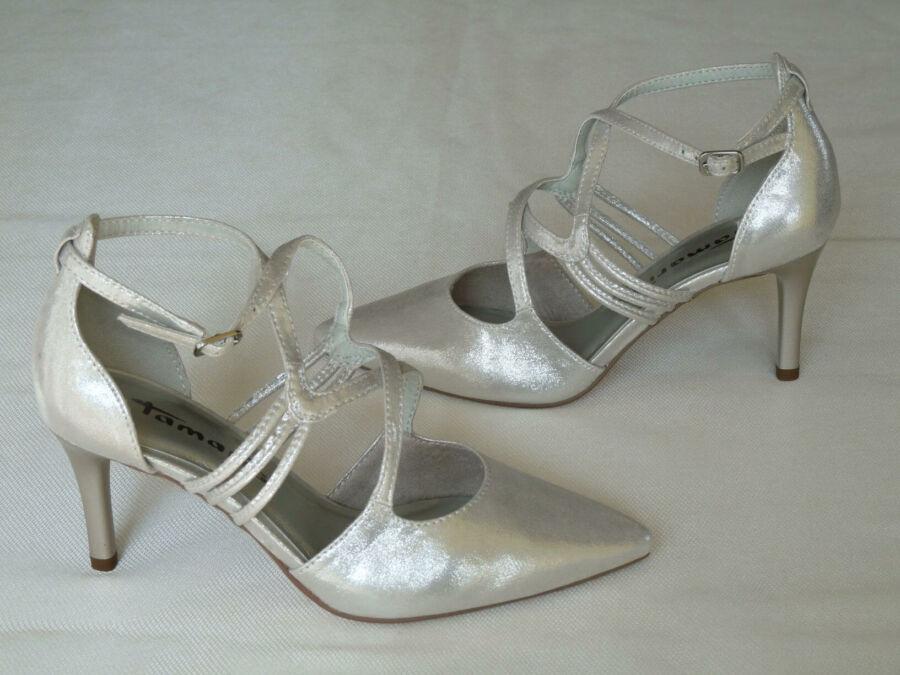 Keresztpántos, ezüst színű női esküvői cipő