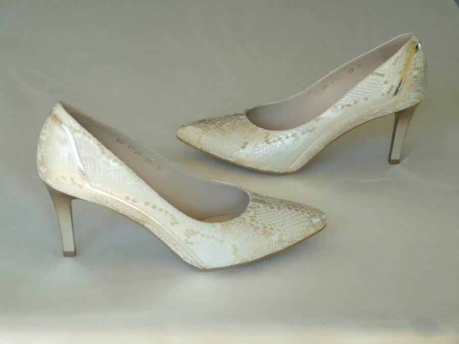Arany és beige színű pitonmintás, női esküvői cipő