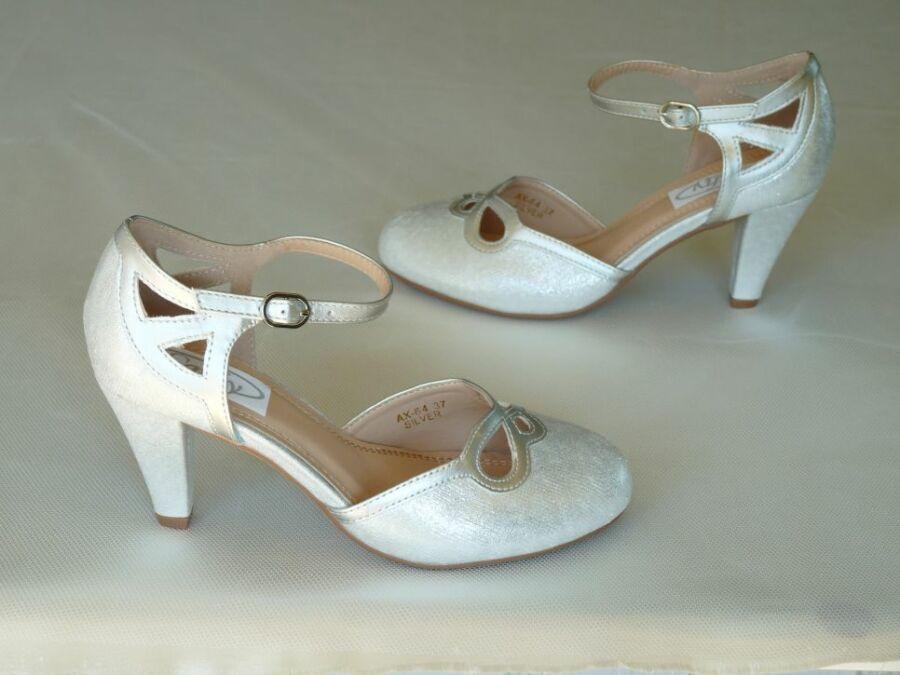 Pántos komfortos női esküvői cipő