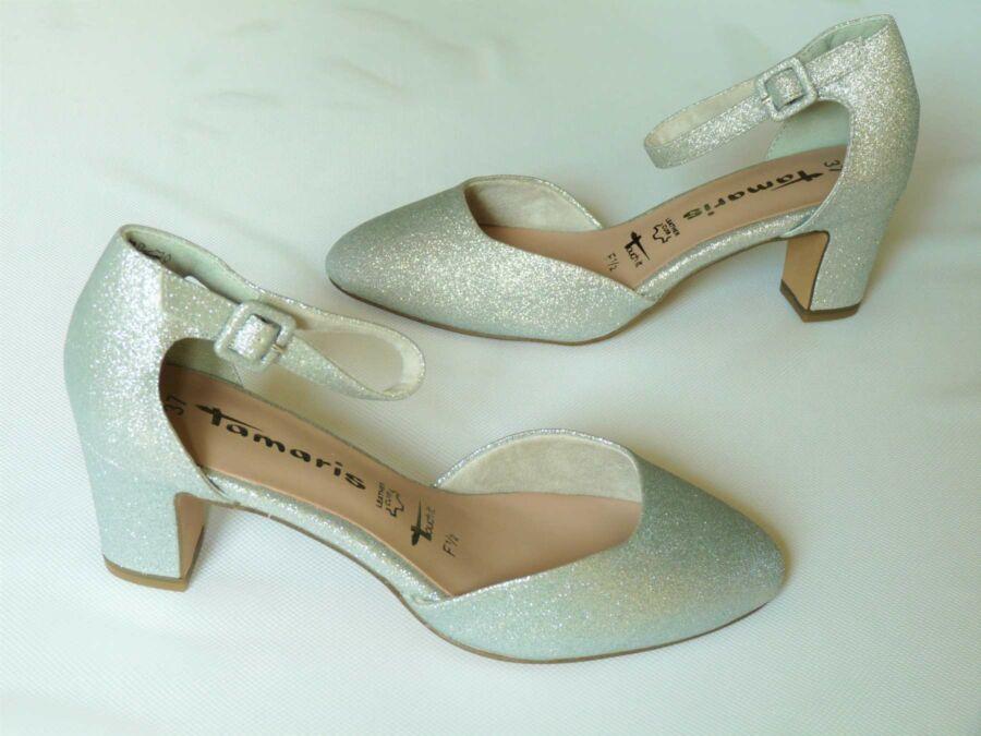 Kétrészes ezüst színű menyasszonyi cipő