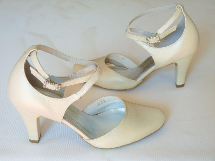 Kétrészes bokapántos női esküvői cipő